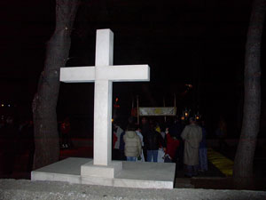 Stone cross with altar