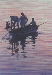 Sveten Godinovic Kika (painter from Sucuraj) - Three fishermen