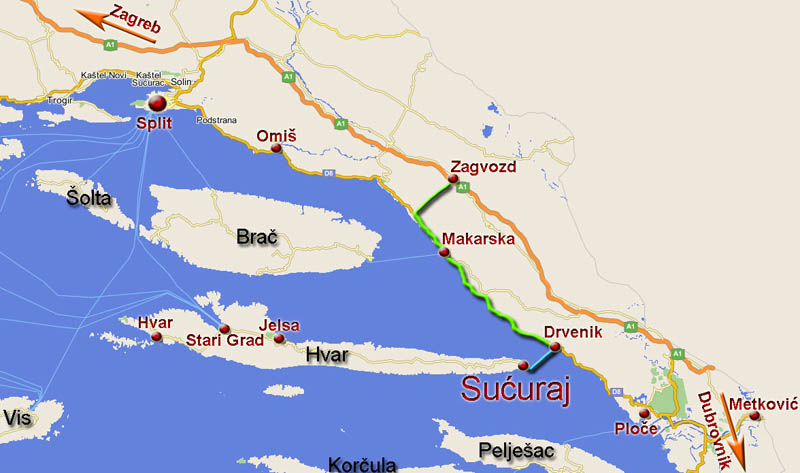 How to reach Sućuraj? - Map