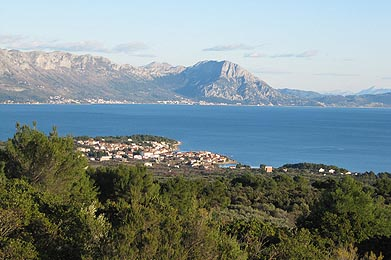 Blue sea of the Hvar and Neretva channel and the view of the Biokovo Mountain