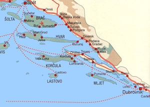 Croatian coast from Split to Dubrovnik with ferry lines